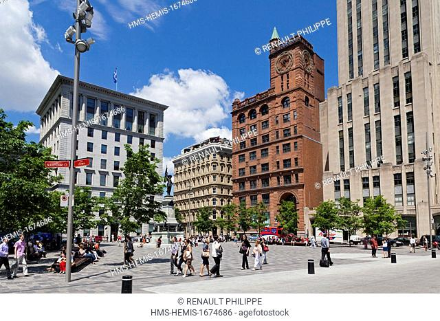 Canada, Quebec province, Montreal, Old Montreal, Place d'Armes