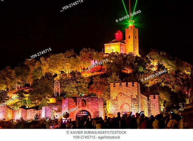 Tsarevets Fortress at the night, Veliko Tarnovo, Bulgaria