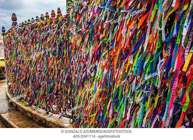 Lucky ribbons tied around the Church of Nosso Senhor do Bonfim, Salvador, Bahia, Brazil