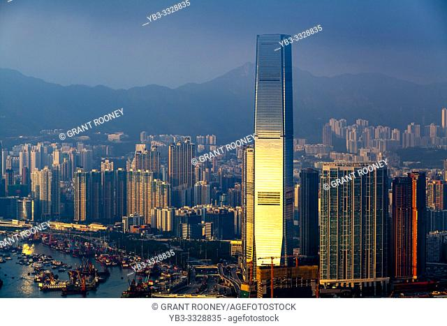 A View Of The International Commerce Centre and Hong Kong Skyline From Victoria Peak, Hong Kong, China