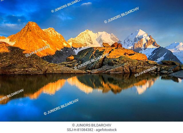 The mountains Piz Tschierva (3546 m), Piz Bernina (4049 m), Piz Roseg (3937m) and the Biancograt, Piz Roseg (3937m)