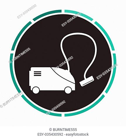 hoover Simple flat white vector pictogram on black circle. Illustration icon