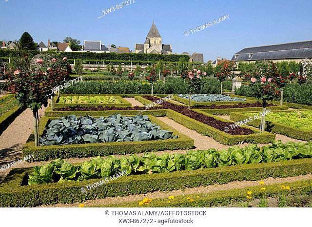 France, Villandry 37  Decorative vegetable garden in castle of Villandry gardens, and Saint-Etienne church