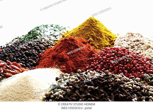 A selection of spices, close-up