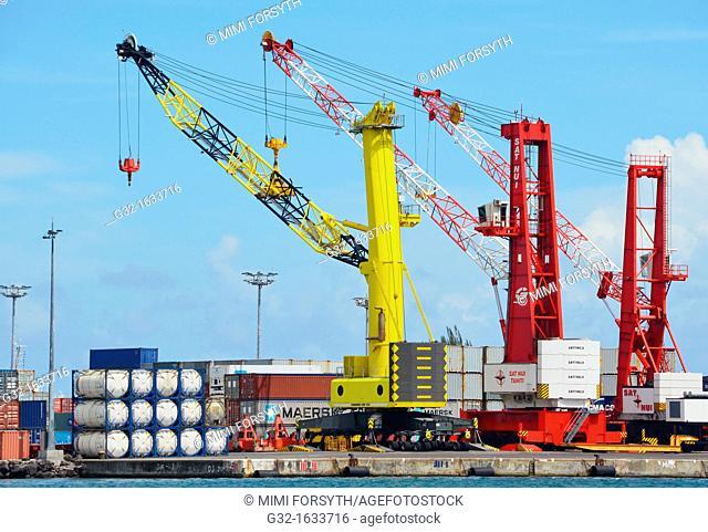 Cranes on freigh dock, Pape'ete, Tahiti, French Polynesia
