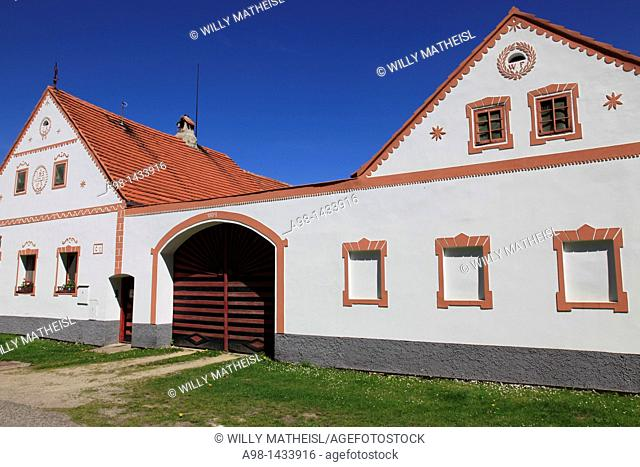 gate to historic farmhouse at the village Holasovice. Unesco World heritage site. South Bohemia. Czech Republic
