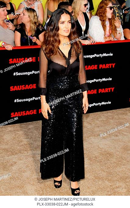 Salma Hayek at the World Premiere of Columbia Pictures' and AnnaPurna Pictures' Sausage Party held at the Regency Village Theatre in Westwood