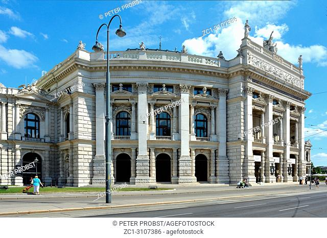 The Burgtheater at the Ringstrasse in Vienna with main entrance is the Austrian National Theatre - Austria