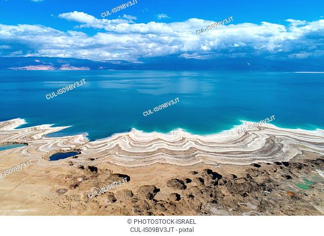 Aerial photography with drone. elevated view of Dead Sea shoreline, Israel