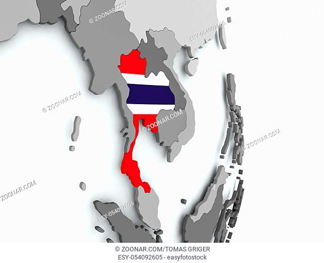 Thailand on political globe with embedded flag. 3D illustration