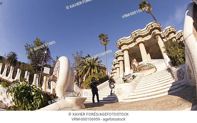 Park Güell by Antoni Gaudi architect in Barcelona city, Spain