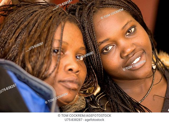two female black african friends