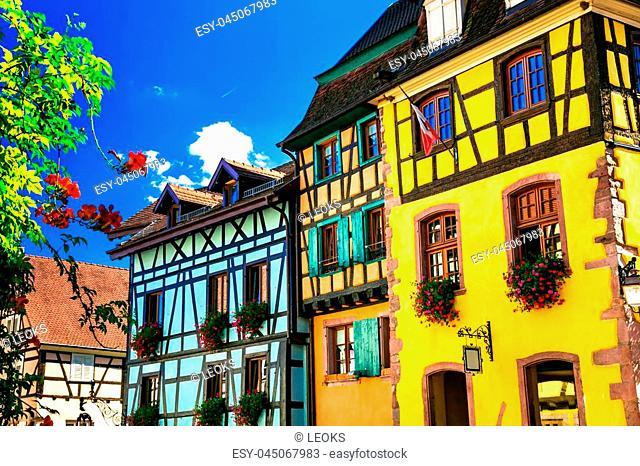 Traditional colored houses in Riquewihr medieval village,Alsace,France