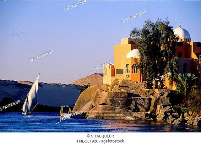 Sailboat in river, Nile River, Aswan, Egypt