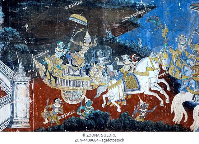 Wandmalerei mit Szenen aus der Khmer (Reamker) Version des klassischen indischen Epos Ramayana in der gedeckten Galerie der Silberpagode, Königspalast