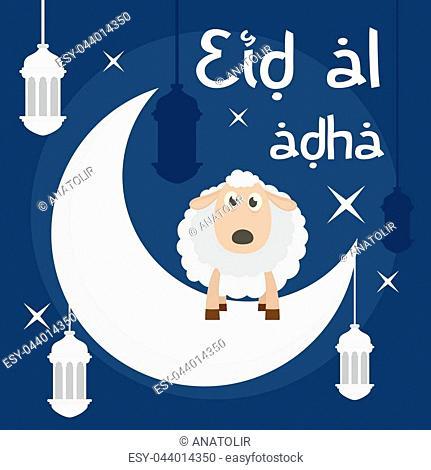 Eid al adha background. Flat illustration of eid al adha vector background for web design