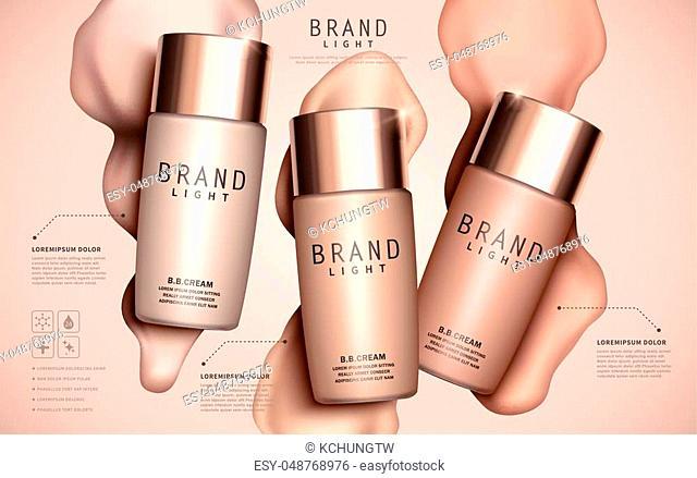 Foundation ads template, makeup mockup for ads or magazine liquid foundation background. 3D illustration