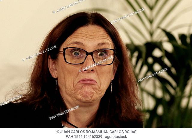 Madrid Spain; 10/09 / 2019.- Cecilia Malmström European Commissioner for Trade, participates with Luis Planas Minister of Agriculture, Fisheries and Food