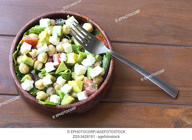 Chick pea and chopped vegetable salad