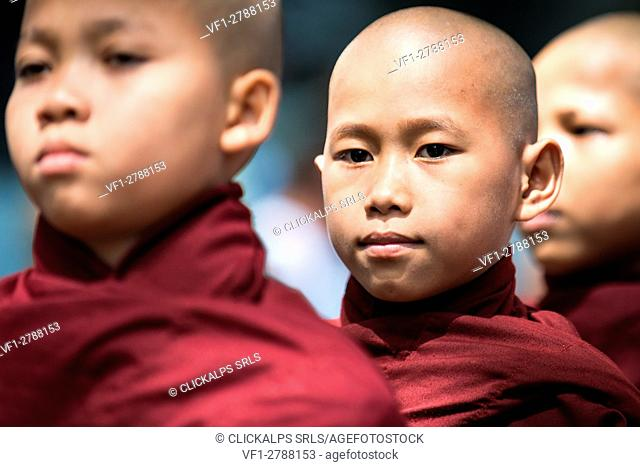 Mahagandayon Monastery, Amarapura, Myanmar, South East Asia. Detail of young monk in a row for the ritual of lunch