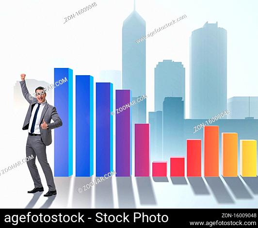 The young businessman in business concept with bar charts