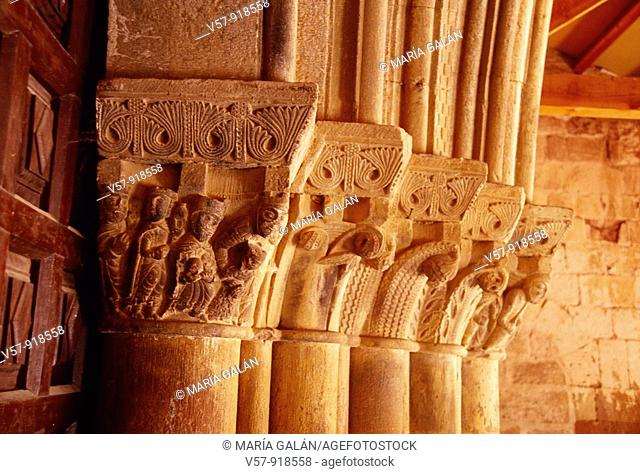 Romanesque chapiters. Church of Pineda de la Sierra, Burgos province, Castilla Leon, Spain