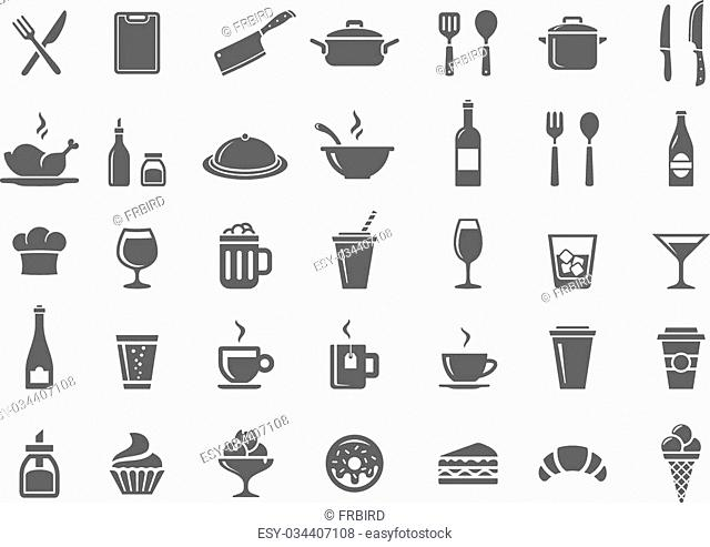 Food and drink icon set. Restaurant, kitchen and cooking icons
