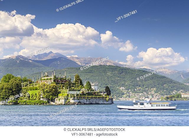 View of the Isola Bella, from the shore of Baveno in a spring day, Verbano Cusio Ossola, Lago Maggiore, Piedmont, Italy