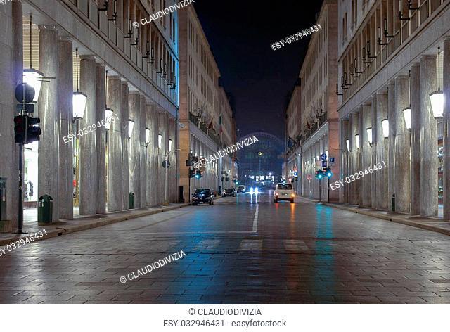 Via Roma, central highstreet in Turin, Italy - at night