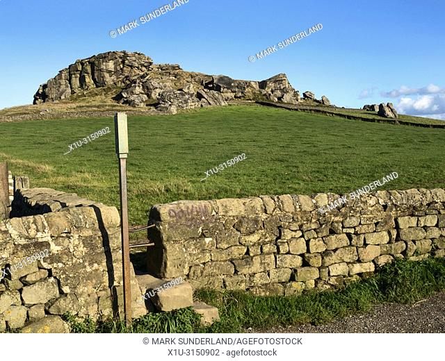 Almscliff Crag millstone grit outcrop near Harrogate North Yorkshire England