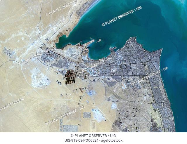 Colour satellite image of Kuwait City, Kuwait. Image taken on October 16, 2013 with Landsat 8 data