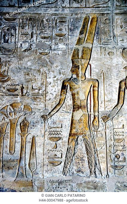 Luxor, Egypt, West Bank, Qurna. The funerary temple of the pharaoh Menmaatra Seti I (XIX° dyn.) in Qurna: the god Amon