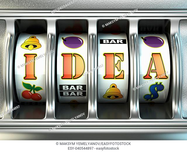 Idea concept. Slot machine with text. 3d