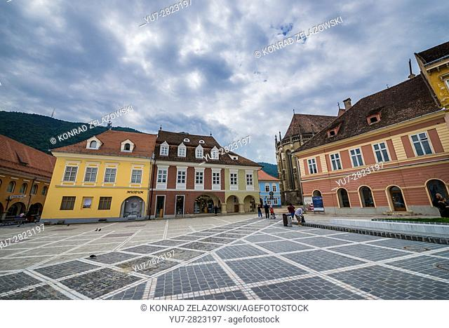 Urban Civilization Museum (left) at Council Square, main square of Brasov, Romania