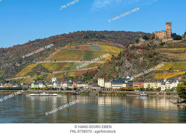 River Rhine with Kaub and Gutenfels Castle, Rhineland-Palatinate, Germany