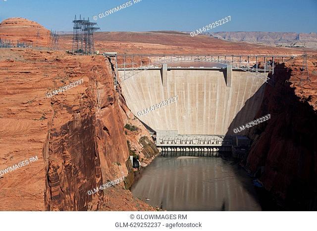 High angle view of a dam, Glen Canyon Dam, Lake Powell, Colorado River, Page, Arizona, USA