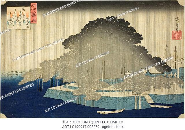 Night Rain at Karasaki (Karasaki no yau), from the series Eight Views of Omi (Omi hakkei no uchi), c. 1834, Utagawa Hiroshige ?? ??, Japanese, 1797-1858, Japan