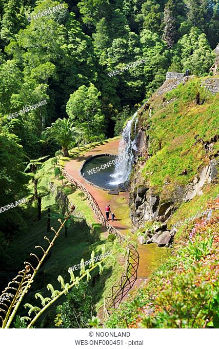 Portugal, Azores,Sao Miguel, Waterfall at Parque National da Ribeira dos Caldeiroes