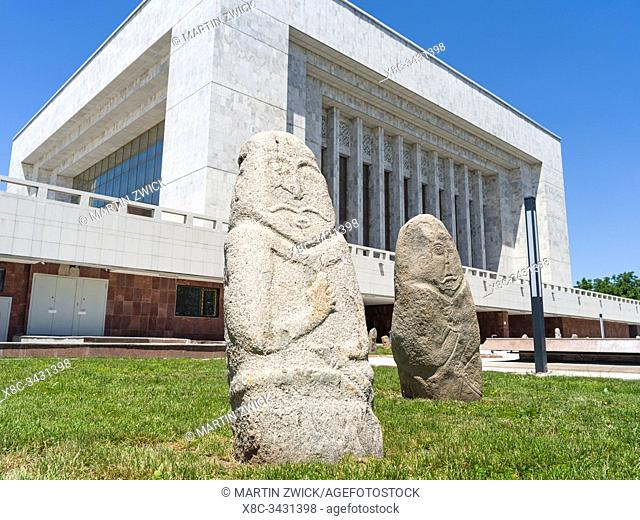 National Museum, kyggyzs stelae or Balbals. Ala Too square in the city center. The capital Bishkek located in the foothills of Tien Shan