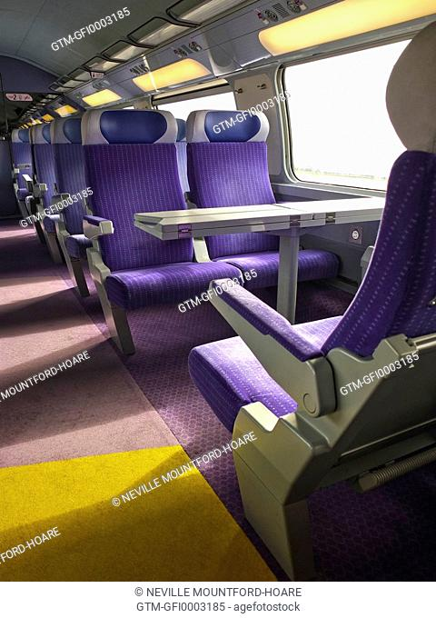 Empty Train seats within a French TGV