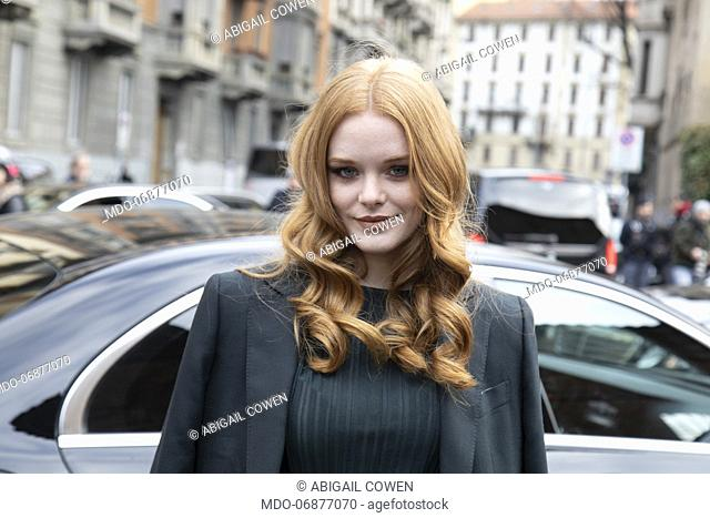 American actress Abigail Cowen arrives at the Ferragamo show of Milan Fashion Week Woman F/W 19. Milan (Italy), February 23th 2019