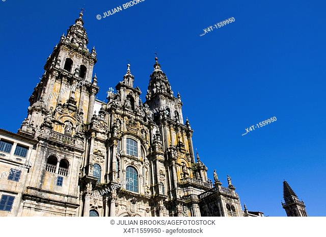 extreme wide angle looking up at the front of the cathedral  Santiage de Compostela, Spain
