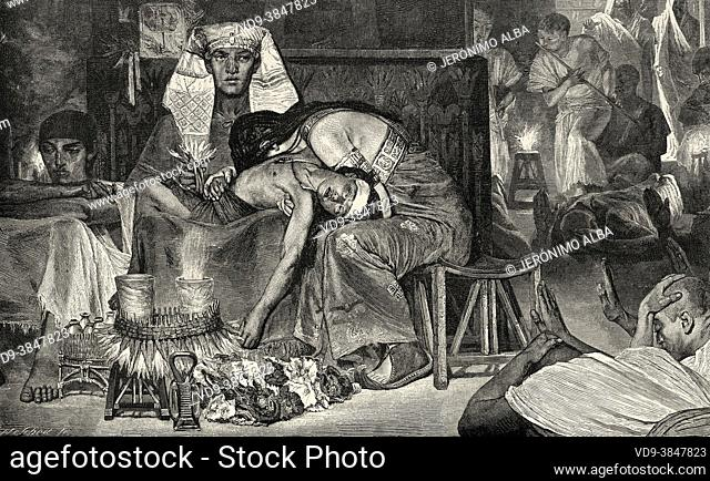 The Death of the First-Born. The tenth plague was the death of all the firstborn of Egypt, North Africa. Old 19th century engraved illustration from El Mundo...
