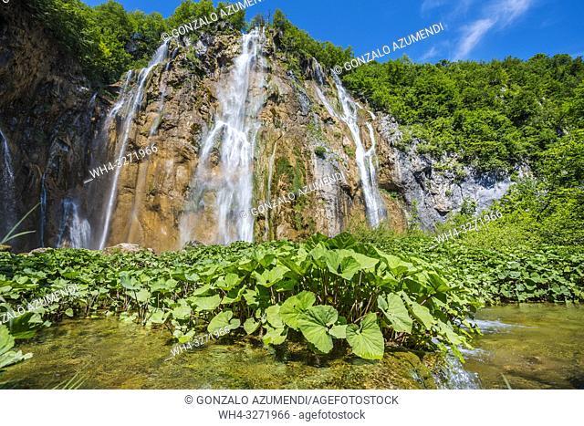 Sastavci Waterfall. Plitvice Lakes National Park. Lika Plješivica mountain range . The park falls within two counties Lika-Senj and Karlovac