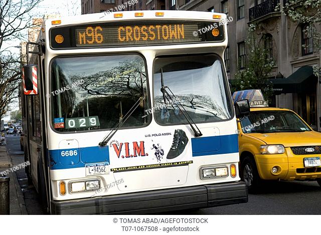 M96 Crosstown Bus, Traverses East to West of Central Park, Public Transportation, New York City, 2010