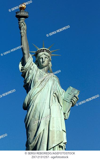 Statue of Liberty, Liberty Island, New York City, New York. Statue of Liberty. It was built in France thanks to thousands of individual donations and sent it...