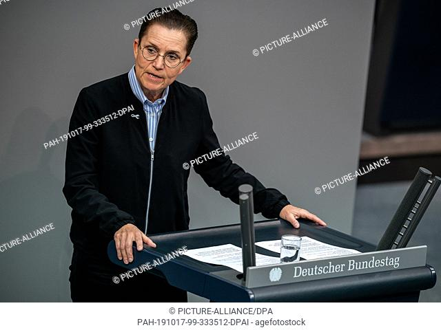 17 October 2019, Berlin: Petra Sitte (The Left) speaks in the debate on combating anti-Semitism. The agenda of the 118th session of the 19th legislative period...