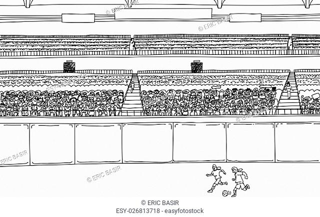Illustration of soccer players running after ball at stadium with large diverse crowd