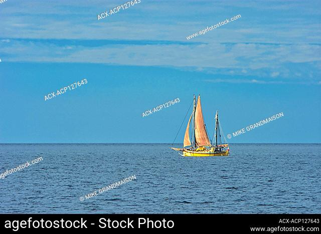 Sailboat on Gulf of St. Lawrence Gaspe Peninsula Quebec Canada