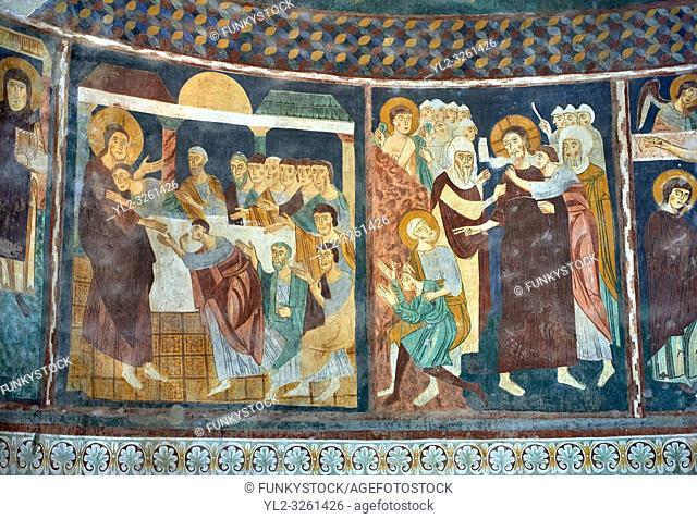 Interior Byzantine Romanesque style Christian frescoes of biblical scenes, Santissima Trinita di Saccargia, consecrated 1116 AD, Codrongianos, Sardinia